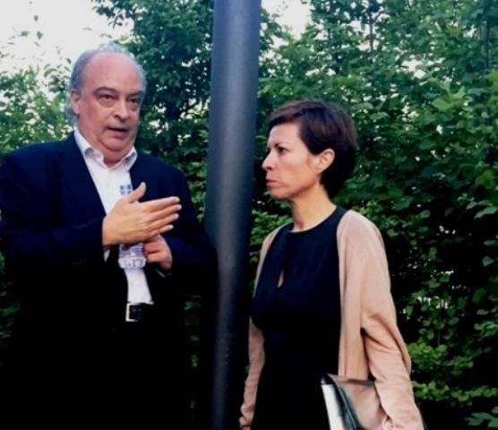 25 junio, Milano, Hanga  Bicocca. Vila-Matas y Chus Martínez antes del diálogo con Roberto Pinto.